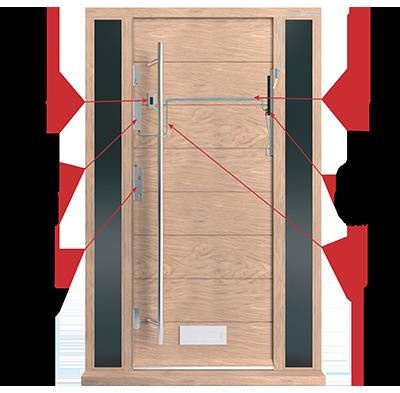 Timber Electronic Fingerprint Multipoint Espagnolette Locks