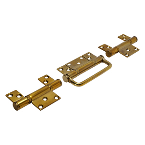 CF3 Polished Brass CoFold Non-Mortice Inline Hinge Handle Set